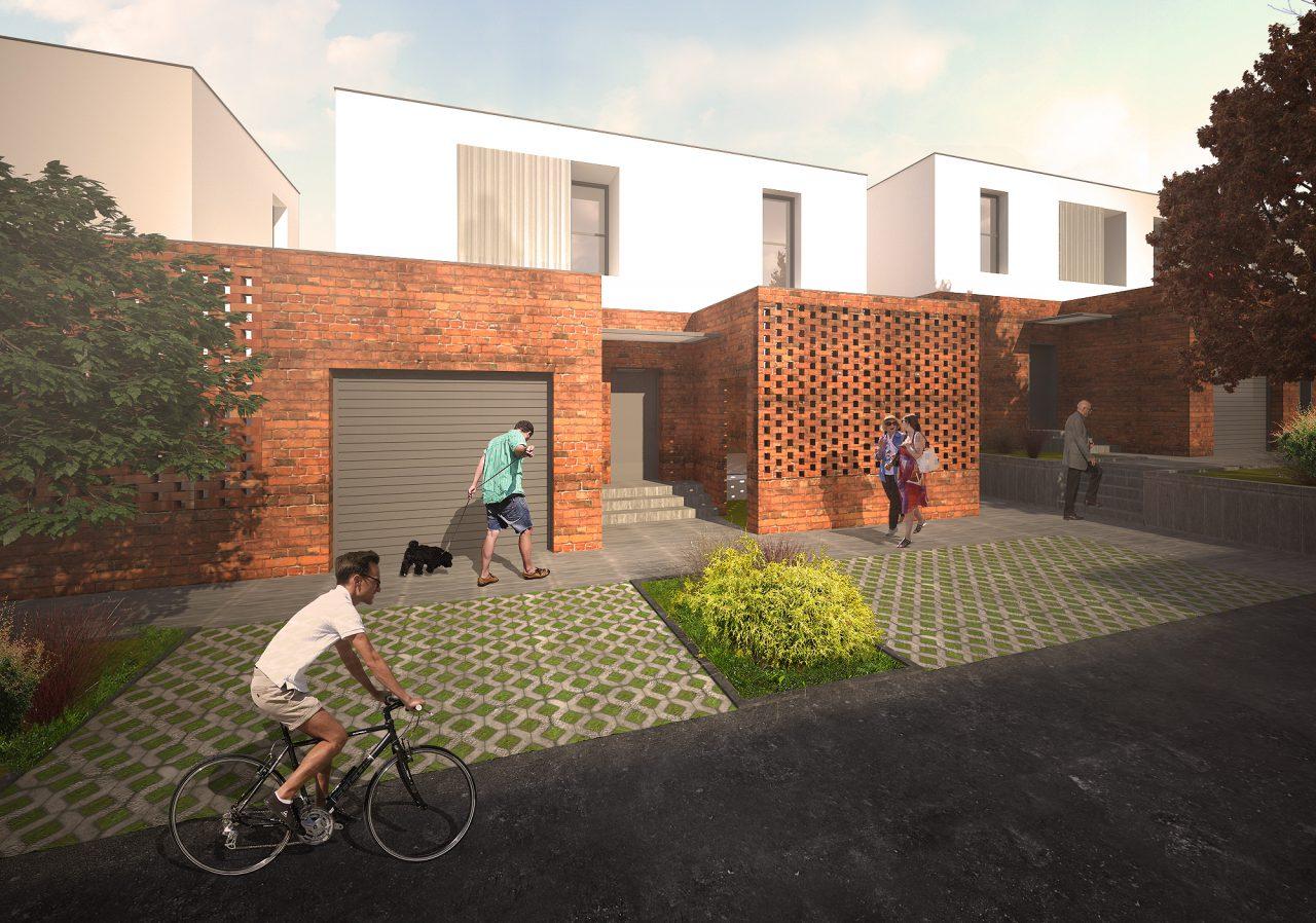 Ulični prikaz kuća sa garažom i uličnog dvorišta Faza 2