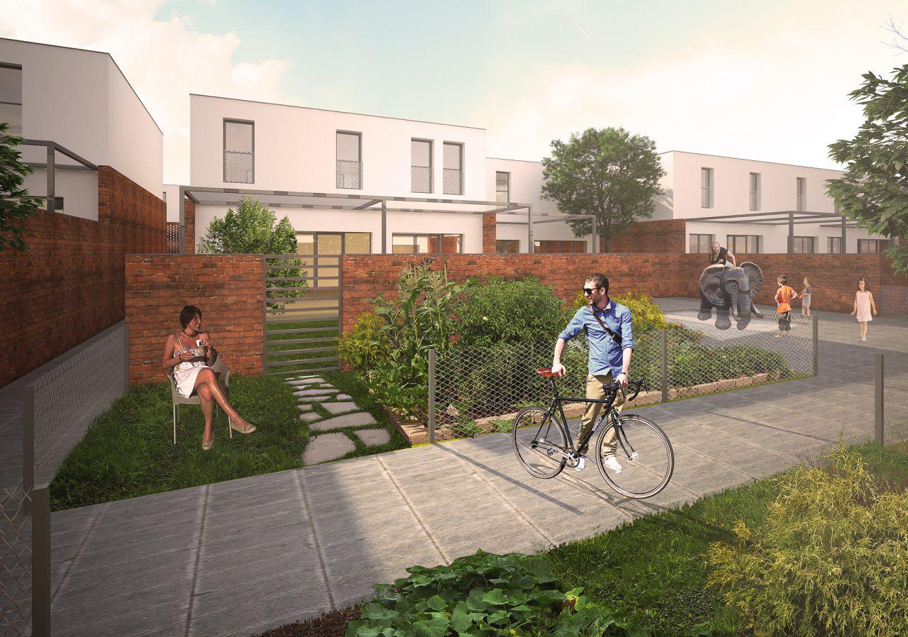 Dvorišni prikaz kuća, dvorišta, biobašti i zajedničkih prostora Faza 2