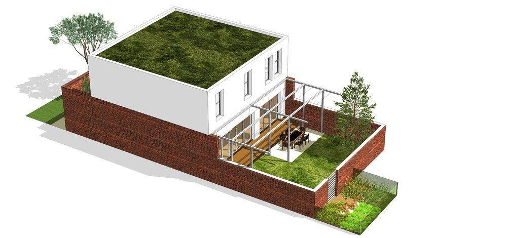 Tip kuće L dvorišni prikaz - Solarna dolina Faza II