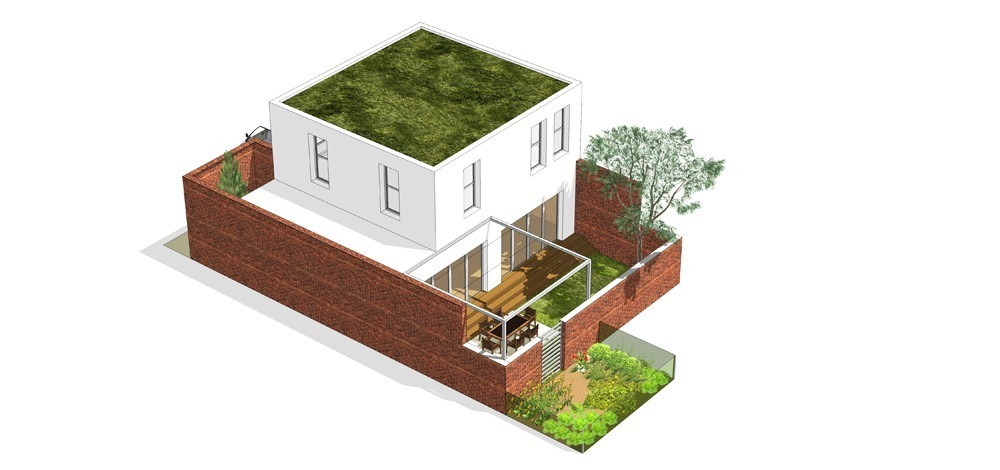 Tip kuće Mh dvorišni prikaz - Solarna dolina Faza II