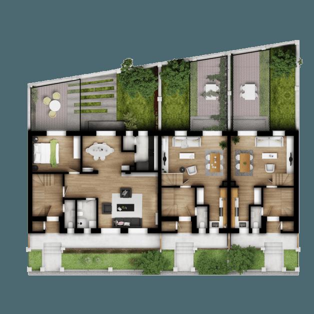Osnova prizemlja kuće sa privatnim dvorištem