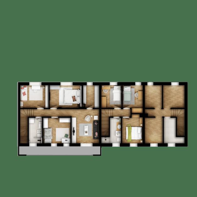 Osnova sprata kuće sa privatnim dvorištem
