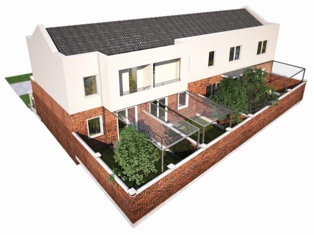 Dvorišna perspektiva kuće u nizu Faza 1